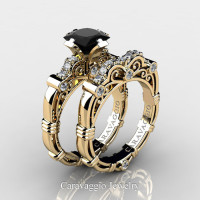 Art Masters Caravaggio 14K Yellow Gold 1.25 Ct Princess Black Sapphire Diamond Engagement Ring Wedding Band Set R623PS-14KYGDBLS
