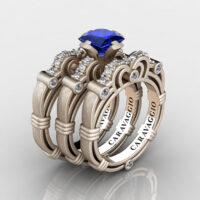 Art Masters Caravaggio Trio 14K Matte Rose Gold 1.25 Ct Princess Blue Sapphire Diamond Engagement Ring Wedding Band Set R623PS3-14KMRGDBS