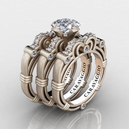 Art Masters Caravaggio Trio 14K Matte Rose Gold 1.25 Ct Princess White Sapphire Diamond Engagement Ring Wedding Band Set R623PS3-14KMRGDWS