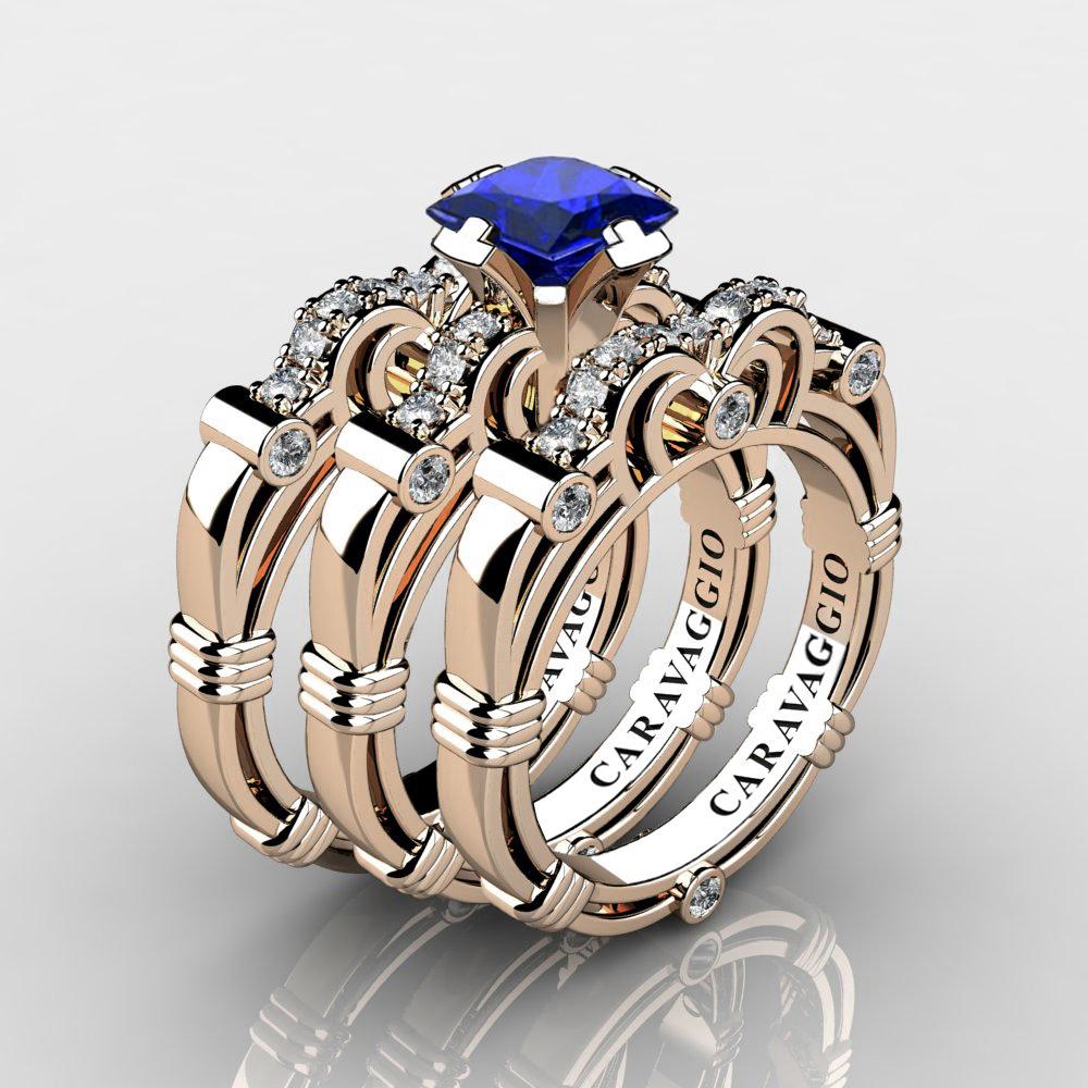 e12b49a1bd964 Art Masters Caravaggio Trio 14K Rose Gold 1.25 Ct Princess Blue Sapphire  Diamond Engagement Ring Wedding Band Set R623PS3-14KRGDBS