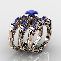 Art Masters Caravaggio Trio 14K Rose Gold 1.25 Ct Princess Blue Sapphire Engagement Ring Wedding Band Set R623PS3-14KRGBS