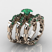 Art Masters Caravaggio Trio 14K Rose Gold 1.25 Ct Princess Emerald Engagement Ring Wedding Band Set R623PS3-14KRGEM