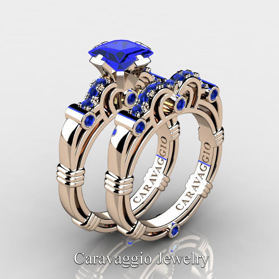 Sapphire Wedding Rings.Art Masters Caravaggio 14k Rose Gold 1 25 Ct Princess Blue Sapphire Engagement Ring Wedding Band Set R623ps 14krgbs
