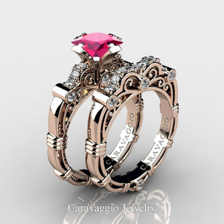 Art Masters Caravaggio 14K Rose Gold 1.25 Ct Princess Pink Sapphire Diamond Engagement Ring Wedding Band Set R623PS-14KRGDPS