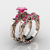 Art Masters Caravaggio 14K Rose Gold 1.25 Ct Princess Pink Sapphire Engagement Ring Wedding Band Set R623PS-14KRGPS