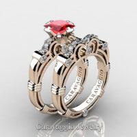 Art Masters Caravaggio 14K Rose Gold 1.25 Ct Princess Ruby Diamond Engagement Ring Wedding Band Set R623PS-14KRGDR