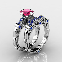 Art Masters Caravaggio 14K White Gold 1.25 Ct Princess Pink and Blue Sapphire Engagement Ring Wedding Band Set R623PS-14KWGBSPS