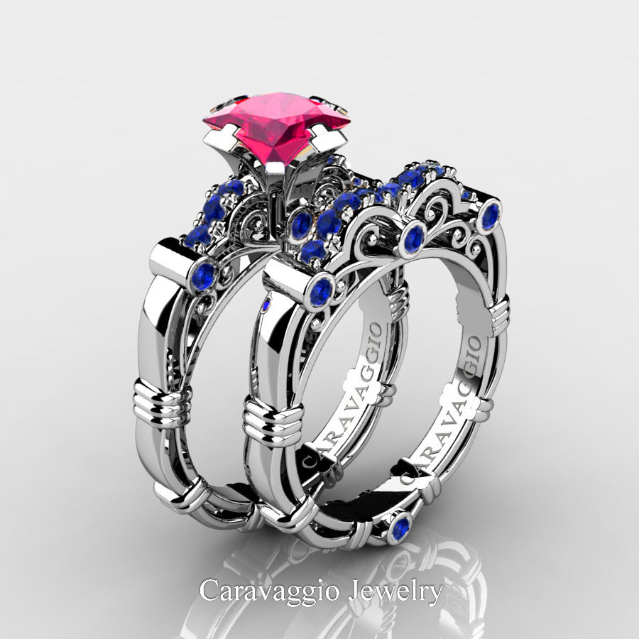 39ff457e707ad Art Masters Caravaggio 14K White Gold 1.25 Ct Princess Pink and Blue  Sapphire Engagement Ring Wedding Band Set R623PS-14KWGBSPS