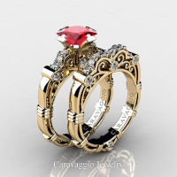 Art Masters Caravaggio 14K Yellow Gold 1.25 Ct Princess Ruby Diamond Engagement Ring Wedding Band Set R623PS-14KYGDR