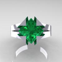 Neomodern 14K White Gold 2.0 Ct Princess Emerald Engagement Ring R489-14KWGEM