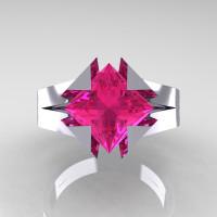 Neomodern 14K White Gold 2.0 Ct Princess Pink Sapphire Engagement Ring R489-14KWGPS