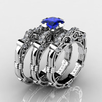 Art Masters Caravaggio Trio 14K White Gold 1.25 Ct Princess Blue Sapphire Diamond Engagement Ring Wedding Band Set R623PS3-14KWGDBS