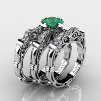 Art Masters Caravaggio Trio 14K White Gold 1.25 Ct Princess Emerald Diamond Engagement Ring Wedding Band Set R623PS3-14KWGDEM