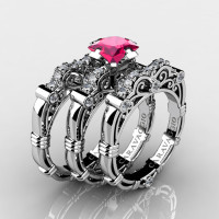 Art Masters Caravaggio Trio 14K White Gold 1.25 Ct Princess Pink Sapphire Diamond Engagement Ring Wedding Band Set R623PS3-14KWGDPS