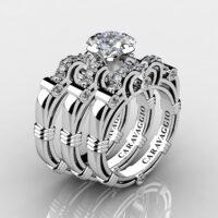 Art Masters Caravaggio Trio 14K White Gold 1.25 Ct Princess White Sapphire Diamond Engagement Ring Wedding Band Set R623PS3-14KWGDWS