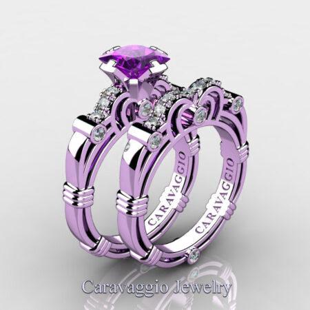 Art-Masters-Caravaggio-14K-Lilac-Gold-1-25-Carat-Princess-Amethyst-Diamond-Engagement-Ring-Wedding-Band-Set-R623PS-14KLGDAM-P2