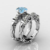 Art Masters Caravaggio 950 Platinum 1.25 Ct Princess Blue Topaz Diamond Engagement Ring Wedding Band Set R623PS-PLATDBT