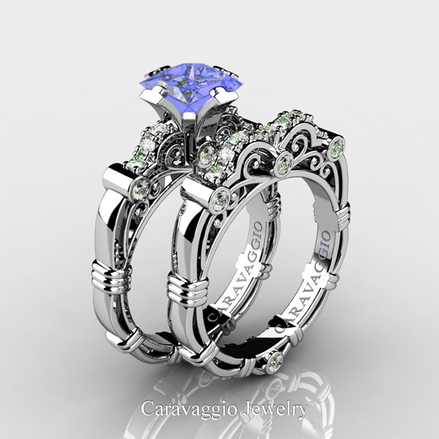 It is a graphic of Art Masters Caravaggio 43 Platinum 43.43 Ct Princess Tanzanite Diamond Engagement Ring Wedding Band Set R43PS-PLATDTA