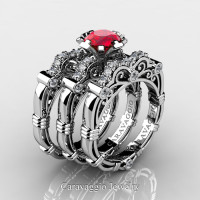 Art Masters Caravaggio Trio 14K White Gold 1.0 Ct Ruby Diamond Engagement Ring Wedding Band Set R623S3-14KWGDR