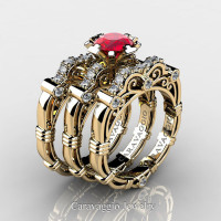 Art Masters Caravaggio Trio 14K Yellow Gold 1.0 Ct Ruby Diamond Engagement Ring Wedding Band Set R623S3-14KYGDR