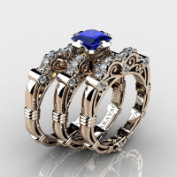 Art Masters Caravaggio Trio 14K Rose Gold 1.25 Ct Princess Blue Sapphire Diamond Engagement Ring Wedding Band Set R623PS3-14KRGDBS
