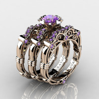 Art Masters Caravaggio Trio 14K Rose Gold 1.0 Ct Amethyst Engagement Ring Wedding Band Set R623S3-14KRGAM