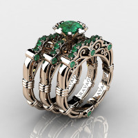 Art Masters Caravaggio Trio 14K Rose Gold 1.0 Ct Emerald Engagement Ring Wedding Band Set R623S3-14KRGEM