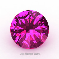 Art Masters Gems Calibrated 1.25 Ct Round Hot Pink Sapphire Created Gemstone RCG0125-HPS