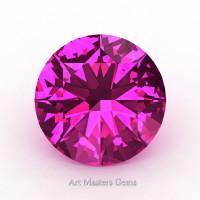 Art Masters Gems Calibrated 1.25 Ct Round Hot Pink Sapphire Created Gemstone RCG0125-HPS
