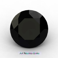 Art Masters Gems Calibrated 1.0 Ct Round Black Sapphire Created Gemstone RCG0100-BLS