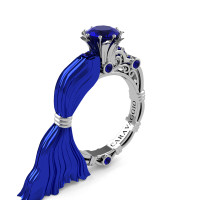 Caravaggio Italian Romance 14K Blue and White Gold 1.0 Ct Blue Sapphire Engagement Ring R643E-14KBLWGBS