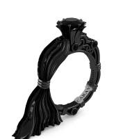 Caravaggio Exclusive Dante 14K Silk Black Gold 1.0 Ct Black Sapphire Engagement Ring R643E-14KSBGBLS