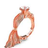 Caravaggio Ready to Wear Kimberly 14K Silk Rose Gold 1.0 Ct White Sapphire Engagement Ring R643E-14KSRGWS