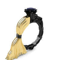 Caravaggio Luxury Italian 14K Yellow and Black Gold 1.0 Ct Black Sapphire Engagement Ring R643E-14KYBGBLS