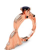 Caravaggio Ready to Wear Venus 14K Rose Gold 1.0 Ct Black Diamond Engagement Ring R643E-14KRGBD