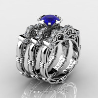 Art Masters Caravaggio Trio 950 Platinum 1.0 Ct Blue Sapphire White Diamond Engagement Ring Wedding Band Set R623S3-PLATDBS