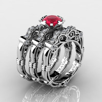 Art Masters Caravaggio Trio 950 Platinum 1.0 Ct Rose Ruby Diamond Engagement Ring Wedding Band Set R623S3-PLATDRR
