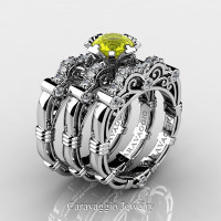 Art Masters Caravaggio Trio 950 Platinum 1.0 Ct Yellow Sapphire White Diamond Engagement Ring Wedding Band Set R623S3-PLATDYS