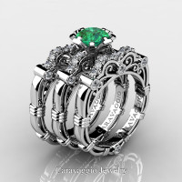 Art Masters Caravaggio Trio 950 Platinum 1.0 Ct Emerald Diamond Engagement Ring Wedding Band Set R623S3-PLATDEM