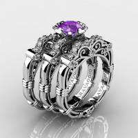 Art Masters Caravaggio Trio 950 Platinum 1.0 Ct Amethyst Diamond Engagement Ring Wedding Band Set R623S3-PLATDAM