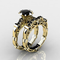 Art Masters Caravaggio 14K Yellow Gold 1.0 Ct Black Diamond Engagement Ring Wedding Band Set R623S-14KYGBD