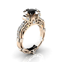 Art Masters Michelangelo 14K Rose Gold 1.0 Ct Black and White Diamond Engagement Ring R723-14KRGDBD