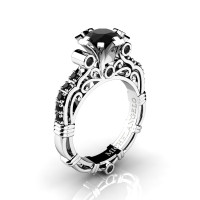 Art Masters Michelangelo 14K White Gold 1.0 Ct Black Diamond Engagement Ring R723-14KWGBD