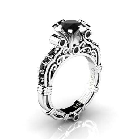 Art Masters Michelangelo 14K White Gold 1.0 Ct Black Diamond Engagement Ring R723-14KWGBD