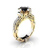 Art Masters Michelangelo 14K Yellow Gold 1.0 Ct Black and White Diamond Engagement Ring R723-14KYGDBD
