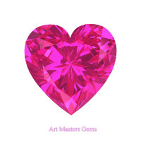 Art Masters Gems Standard 0.5 Ct Heart Pink Sapphire Created Gemstone HCG050-PS