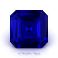 Art Masters Gems Standard 0.75 Ct Asscher Blue Sapphire Created Gemstone ACG075-BS
