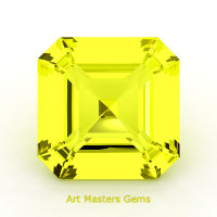 Art Masters Gems Standard 0.75 Ct Asscher Yellow Sapphire Created Gemstone ACG075-YS