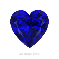 Art Masters Gems Standard 0.75 Ct Heart Blue Sapphire Created Gemstone HCG075-BS