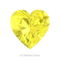 Art Masters Gems Standard 0.75 Ct Heart Canary Yellow Sapphire Created Gemstone HCG075-CYS